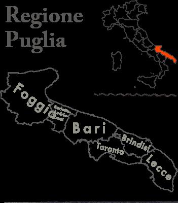 イタリアのかかとの部分であるプーリア地方は7つの都市からなる州です。